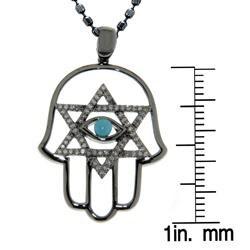Black Silver Turquoise and 1/4ct TDW Diamond Hamsa Necklace (J, I2-I3)