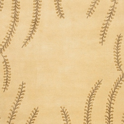 Hand-knotted Beige Floral Neoteric Beige Semi-Worsted  Wool Rug (5' x 8') - Thumbnail 2
