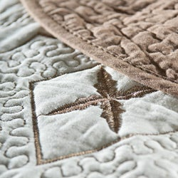 Lace Embroidered Cotton Chocolate 3-piece Quilt Set - Thumbnail 2