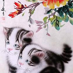 'Cats and Spring Flowers' Wall Art Scroll Painting (China) - Thumbnail 2