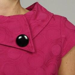 London Times Women's Belted Button-collar Dress - Thumbnail 2