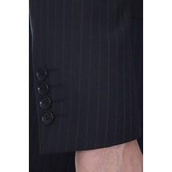 Ferrecci Men's Slim Fit Navy Pinstripe Suit - Thumbnail 2