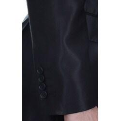 Ferrecci Men's Shiny Black 2-button Slim Fit Suit