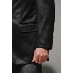 Men's Black Faux Leather Sportcoat - Thumbnail 2