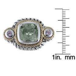 Savant Sterling Silver and 14k Gold Green and Purple Amethyst Ring - Thumbnail 2