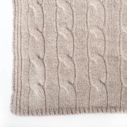 Sophia Cashmere 4-ply Classic Cable Knit Throw Travel Set - Thumbnail 2