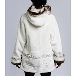 Nuage Women's Hooded Faux Fur Trim Coat