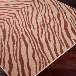 Picnic Brown Zebra Print Indoor/Outdoor Rug (7'6 x 10'9)