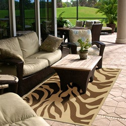 Hand-hooked Bliss Outdoor Beige Indoor/Outdoor Animal Print Rug (9' x 12') - Thumbnail 2
