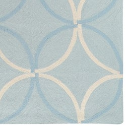 Hand-hooked Bliss Outdoor Pale Blue Rug (8' x 10')