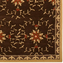 Hand-hooked Bliss Chocolate/ Brown Floral Rug (9' x 12') - Thumbnail 2