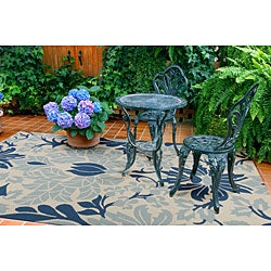 Hand-hooked Bliss Off-white Indoor/Outdoor Floral Rug (5' x 8') - Thumbnail 2