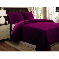 Greenland Home Fashions Bohemian Velvet 3-piece Full/ Queen-size Quilt Set - Thumbnail 2