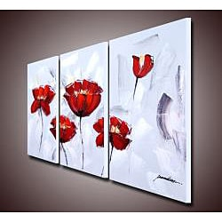 'Red Flower 284' 3-piece Gallery-wrapped Canvas Art Set