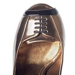 Dolce & Gabbana Women's Gold Leather Peep-toe Pumps - Thumbnail 2