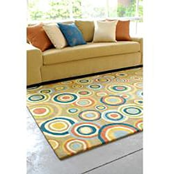 Hand-tufted Contemporary Multi Colored Circles Geometric Dazed New Zealand Wool Rug (3'3 x 5'3) - Thumbnail 2