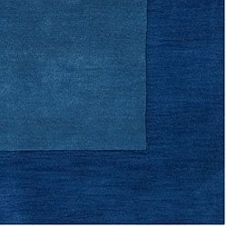Hand-crafted Blue Tone-On-Tone Bordered  Wool Rug (6' x 9') - Thumbnail 2