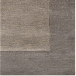 Hand-crafted Grey Tone-On-Tone Bordered Wool Rug (9' x 13') - Thumbnail 2