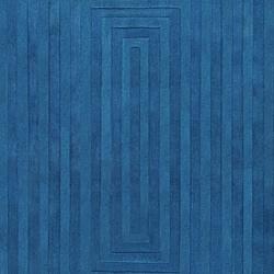 Hand-crafted Blue Geometric Ridges Wool Rug (5' x 8') - Thumbnail 2