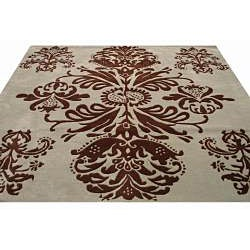 Hand-tufted Tomthy Green Wool Rug (6' Square) - Thumbnail 2