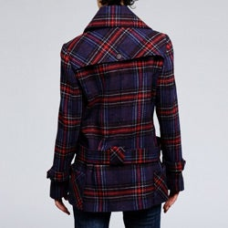 Nicole Miller Women's Plaid Wool-blend Low Belted Coat - Thumbnail 2