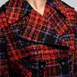 Nicole Miller Women's Plaid Pea Coat