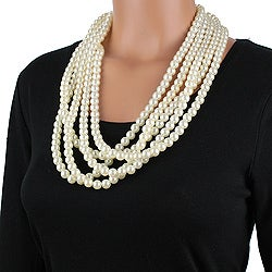 West Coast Jewelry Silvertone Faux Pearl Bead Necklace - Thumbnail 2