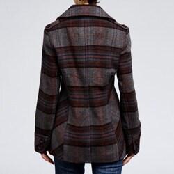 Nicole Miller Women's Plaid Wool-blend Pea Coat - Thumbnail 2