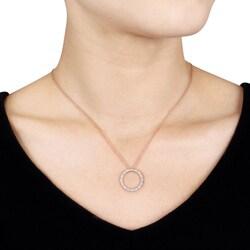 10k Pink Gold 1/10ct TDW Diamond Circle Necklace