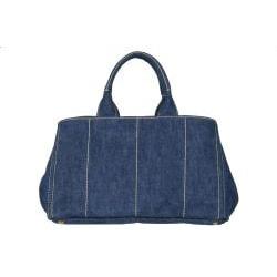 Prada B1872B Blue Denim Tote Bag - Thumbnail 2