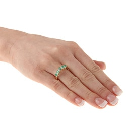 10k Yellow Gold Emerald and Diamond Accent Ring  (Size 7)