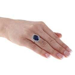 Sterling Essentials Sterling Silver Created Blue Sapphire and White Topaz Diana Ring - Thumbnail 2