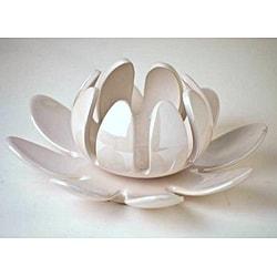 Lotus Flower Pearl Cream Porcelain Candleholder