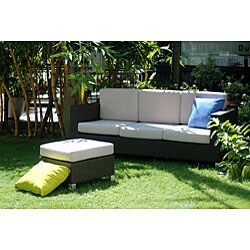 St Lucia All Weather Wicker Sofa With Chaise Set Free