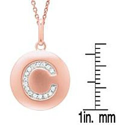 14k Pink Gold Overlay Diamond Accent Initial 'C' Necklace