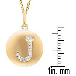 Sterling Silver/ 14k Gold Diamond 'J' Necklace - Thumbnail 2