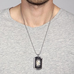 Stainless Steel and 10k Gold Eagle Dog Tag Necklace