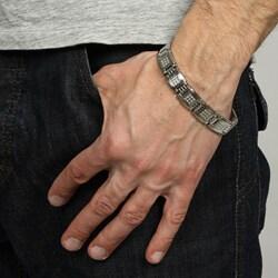 Stainless Steel Men's 1ct TDW Diamond Bracelet (G-H, I2-I3) - Thumbnail 2