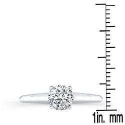 14k White Gold 3/4ct TDW Certified Diamond Solitaire Engagement Ring (H-I, I1-I2) - Thumbnail 2