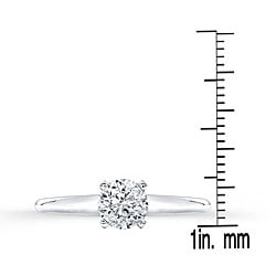 14k White Gold 3/4ct TDW Certified Diamond Solitaire Engagement Ring - Thumbnail 2