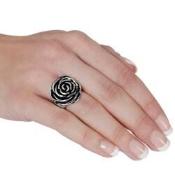 Stainless Steel Rose Design Ring - Thumbnail 2