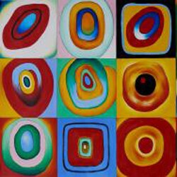 Wassily Kandinsky 'Farbstudie Quadrate' Hand-painted Canvas Art