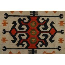Handmade Hereke Kilim Orange Wool Area Rug (6' x 9')