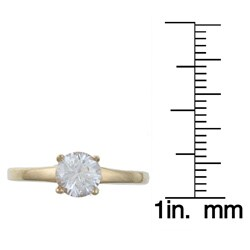 Sterling Essentials 14K Gold over Silver Cubic Zirconia Engagement-style Ring - Thumbnail 2