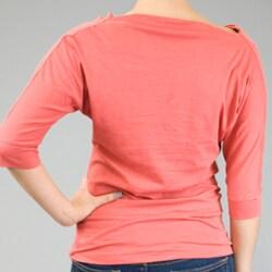 AtoZ Women's Cowl Neck 3/4-sleeve Cotton Top - Thumbnail 2