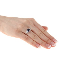 Sterling Silver Created Blue and White Sapphire Ring - Thumbnail 2