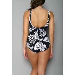 Jantzen Women's Black V-neck Tropical One-piece Swimsuit