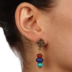 Charming Life Goldtone Turquoise, Carnelian, Lapis Post Earrings