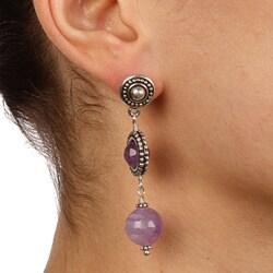Lola's Jewelry Silvertone Decorative Cape Amethyst Post Earrings