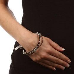 Celeste Stainless Steel Black Crystal Flower Bangle Bracelets (Set of 5) - Thumbnail 2
